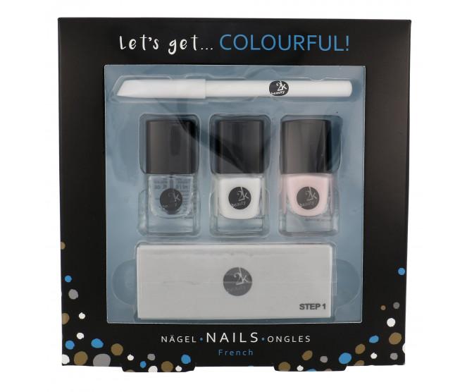 2K Let's Get Colourful! Classics Nail Polish 3 x 5 ml + Nail White Pencil 2 g + 4in1 Nail File