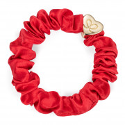 By Eloise London Gold Heart Silk Scrunchie Cherry Red